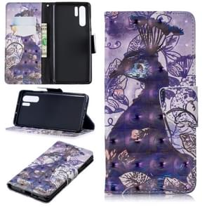 3D Colored Drawing Pattern Horizontal Flip Leather Case for  Huawei P30 Pro, with Holder & Card Slots & Wallet(Peacock)