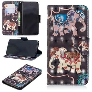 3D Colored Drawing Pattern Horizontal Flip Leather Case for Huawei Mate 20 Pro, with Holder & Card Slots & Wallet(Two Elephants)
