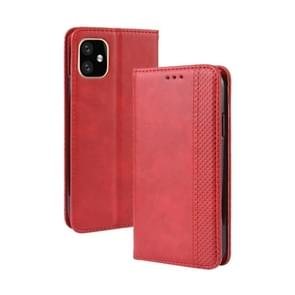 Magnetic Buckle Retro Crazy Horse Texture Horizontal Flip Leather Case for Apple iPhone XIR 2019 6.1 inch, with Holder & Card Slots & Photo Frame(Red)