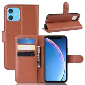 Litchi Texture Horizontal Flip Leather Case for iPhone XIR 2019, with Wallet & Holder & Card Slots(Brown)