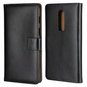 Lederen horizontale Flip holster voor een plus 6  met magnetische sluiting en beugel en kaartsleuf en portemonnee (zwart)