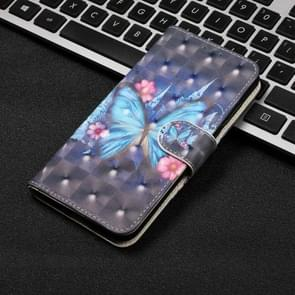 3D Visual Painting Horizontal Flip Leather Case for Galaxy S10e, with Holder & Card Slots & Wallet & Lanyard(Blue butterfly)