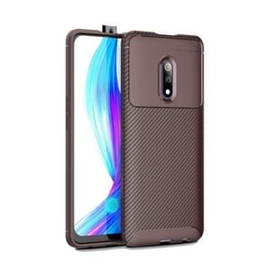 Beetle Series Carbon Fiber Texture Shockproof TPU Case for OPPO realme X(Brown)