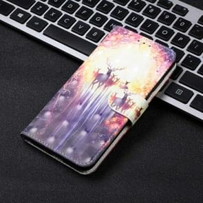 3D Visual Painting Left And Right Open Leather Case for Huawei P30 Lite&Nova 4E , With Bracket & Card Slot & Wallet & Bracelet(The Deer)