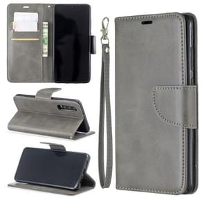 Retro Lambskin Texture Pure Color Horizontal Flip PU Leather Case for Huawei P30, with Holder & Card Slots & Wallet & Lanyard(Grey)