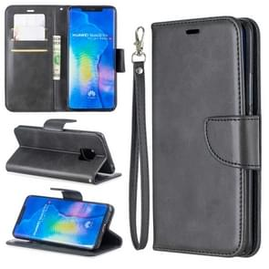 Retro Lambskin Texture Pure Color Horizontal Flip PU Leather Case For Huawei Mate 20 Pro, with Holder & Card Slots & Wallet & Lanyard(Black)