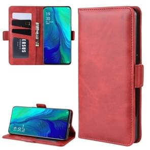 Dual-side Magnetic Buckle Horizontal Flip Leather Case for OPPO Reno 10x Zoom, with Holder & Card Slots & Wallet & Photo Frame(Red)