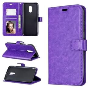 Crazy Horse Texture Horizontal Flip Leather Case for OnePlus 7, with Holder & Card Slots & Wallet & Photo Frame(Purple)