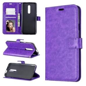 Crazy Horse Texture Horizontal Flip Leather Case for OnePlus 7 Pro, with Holder & Card Slots & Wallet & Photo Frame(Purple)