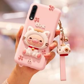 Lovely Pig Full Package Anti Falling Silicone Sleeve for Huawei P30(Pink)