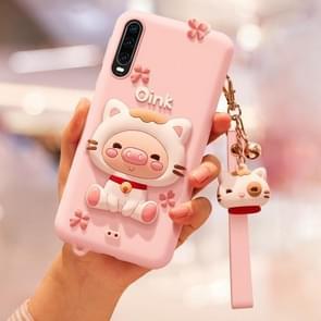Mooie varken volledige pakket anti vallende siliconen hoes voor Huawei P30 (roze)