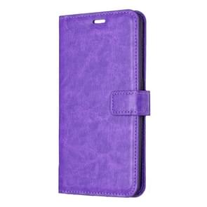 Crazy Horse Texture Horizontal Flip Leather Case with Holder & Card Slots & Wallet & Photo Frame(pruple)