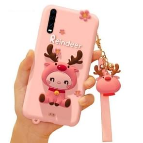 Cartoon all-inclusive anti-drop Silicone Cover voor Huawei P30 Pro (roze)