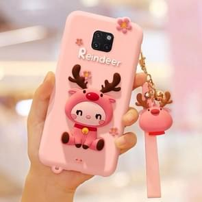 Lovely Reindeer Full Package Anti Falling Silicone Sleeve for Huawei Mate 20 Pro(Pink)