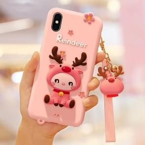 Lovely Reindeer Full Package Anti Falling Silicone Sleeve for iPhone X(Pink)