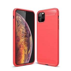 Brushed Texture Carbon Fiber TPU Case for iPhone XI 2019(Red)