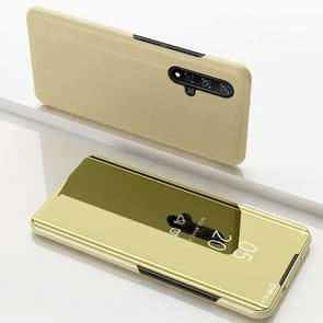 Electroplating Mirror Horizontal Flip Leather Case for Huawei Honor 20 with Holder(Gold)