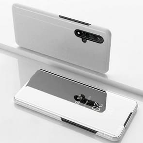 Electroplating Mirror Horizontal Flip Leather Case for Huawei Honor 20 with Holder(Silver)