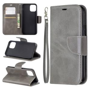 Retro Lambskin Texture Pure Color Horizontal Flip PU Leather Case for iPhone 11 Pro, with Holder & Card Slots & Wallet & Lanyard(Grey)