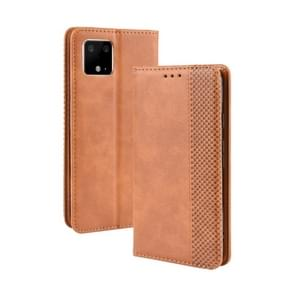 Magnetic Buckle Retro Crazy Horse Texture Horizontal Flip Leather Case for Google Pixel 4 , with Holder & Card Slots & Photo Frame(Brown)