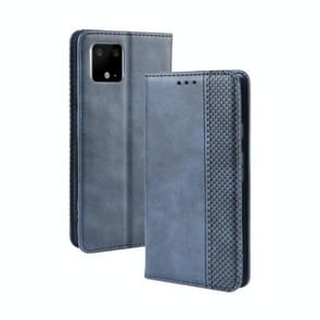 Magnetic Buckle Retro Crazy Horse Texture Horizontal Flip Leather Case for Google Pixel 4 , with Holder & Card Slots & Photo Frame(Blue)