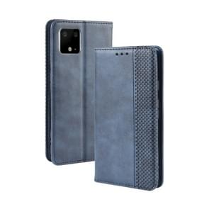 Magnetic Buckle Retro Crazy Horse Texture Horizontal Flip Leather Case for Google Pixel 4xl, with Holder & Card Slots & Photo Frame(Blue)