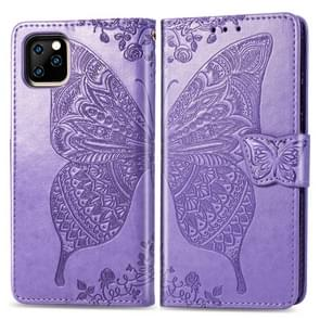 Butterfly Love Flowers Embossing Horizontal Flip Leather Case For iPhone 11 Pro with Holder & Card Slots & Wallet & Lanyard(Light purple)