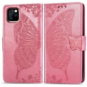 Butterfly Love bloemen reliëf horizontale Flip lederen case voor iPhone XIR (2019)  met houder & kaartsleuven & portemonnee & Lanyard (roze)