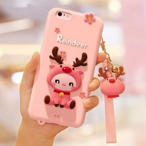 Lovely Reindeer Full Package Anti Falling Silicone Sleeve for iPhone6 / 6s(Pink)