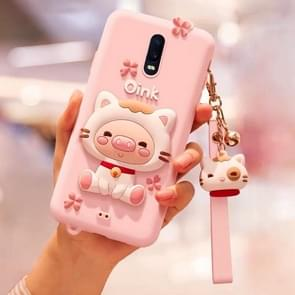 Full Package Anti-falling Silicone Case for OPPO R17(Lovely pig)(Pink)