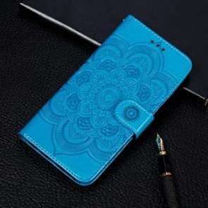 Mandala reliëf patroon horizontale Flip lederen case voor iPhone XIR (2019)  met houder & kaartsleuven & portemonnee & foto frame & Lanyard (blauw)
