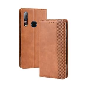 Magnetic Buckle Retro Crazy Horse Texture Horizontal Flip Leather Case for HTC Desire 19+(Desire 19 Plus) , with Holder & Card Slots & Photo Frame(Brown)