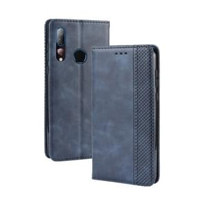 Magnetic Buckle Retro Crazy Horse Texture Horizontal Flip Leather Case for HTC Desire 19+(Desire 19 Plus) , with Holder & Card Slots & Photo Frame(Blue)