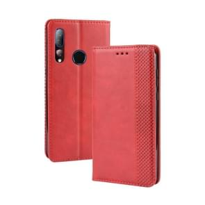 Magnetic Buckle Retro Crazy Horse Texture Horizontal Flip Leather Case for HTC Desire 19+(Desire 19 Plus) , with Holder & Card Slots & Photo Frame(Red)