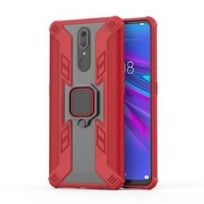 Iron Warrior Shockproof PC + TPU Protective Case for OPPO F11 / A9, with Ring Holder(Red)