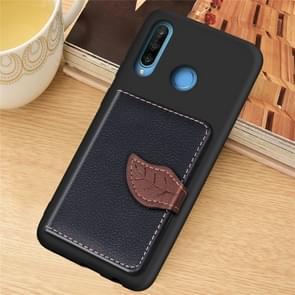 Blad gesp Litchi textuur kaarthouder PU + TPU case met kaartsleuf & houder & portemonnee & fotolijstjes voor Huawei Nove 4E/P30 Lite (zwart)