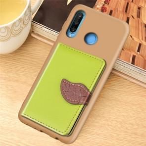 Litchi patroon kaart tas portemonnee beugel + TPU telefoon geval met kaartsleuf portemonnee beugel functie voor Huawei Nove 4E/P30 Lite (groen)