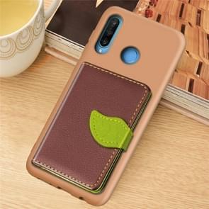 Blad gesp Litchi textuur kaarthouder PU + TPU case met kaartsleuf & houder & portemonnee & fotolijstjes voor Huawei Nove 4E/P30 Lite (bruin)