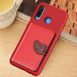 Blad gesp Litchi textuur kaarthouder PU + TPU case met kaartsleuf & houder & portemonnee & fotolijstjes voor Huawei Nove 4E/P30 Lite (rood)