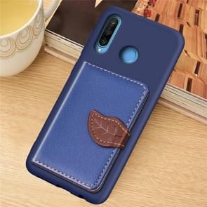 Leaf Buckle Litchi Texture Card Holder PU + TPU Case with Card Slot & Holder & Wallet & Photo Frame for Huawei Nove 4E / P30 Lite(Blue)