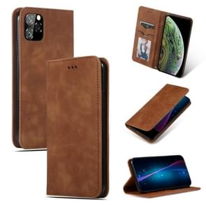 Retro Skin feel Business magnetische horizontale Flip lederen case voor iPhone XI 2019 (bruin)