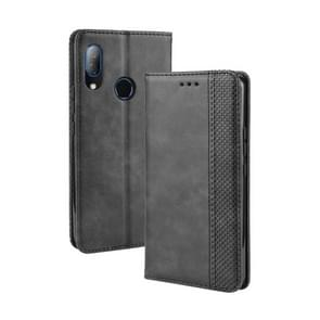Magnetic Buckle Retro Crazy Horse Texture Horizontal Flip Leather Case for HTC U19E , with Holder & Card Slots & Photo Frame(Black)