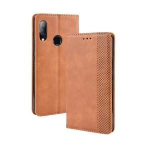 Magnetic Buckle Retro Crazy Horse Texture Horizontal Flip Leather Case for HTC U19E , with Holder & Card Slots & Photo Frame(Brown)