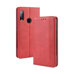 Magnetic Buckle Retro Crazy Horse Texture Horizontal Flip Leather Case for HTC U19E , with Holder & Card Slots & Photo Frame(Red)