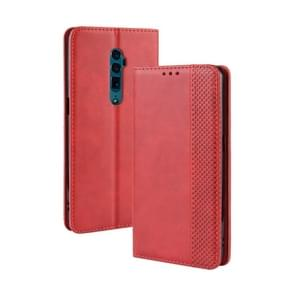 Magnetic Buckle Retro Crazy Horse Texture Horizontal Flip Leather Case for OPPO Reno 10x Zoom / Reno 5G , with Holder & Card Slots & Photo Frame(Red)