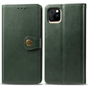 Retro Solid Color Leather Buckle Mobile Phone Protection Leather Case with Photo Frame & Card Slot & Wallet & Bracket Function for iPhone 11 Pro(Green)