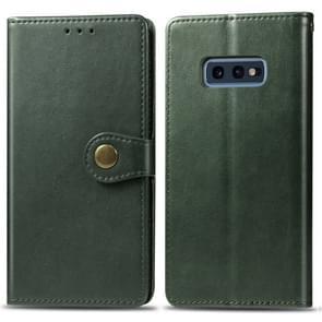 Retro effen kleur lederen gesp mobiele telefoon bescherming lederen draagtas met foto frame & kaartsleuf & portemonnee & beugel functie voor Galaxy S10e (groen)
