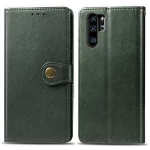 Retro Solid Color Leather Buckle Mobile Phone Protection Leather Case with Photo Frame & Card Slot & Wallet & Bracket Function for Huawei P30 Pro(Green)