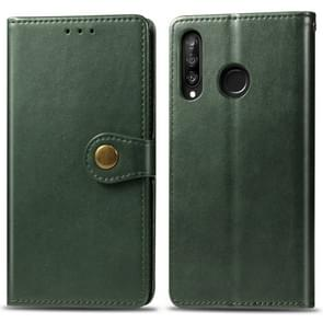 Retro Solid Color Leather Buckle Mobile Phone Protection Leather Case with Photo Frame & Card Slot & Wallet & Bracket Function for Huawei P30 Lite / Nove 4e(Green)