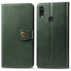 Retro Solid Color Leather Buckle Mobile Phone Protection Leather Case with Photo Frame & Card Slot & Wallet & Bracket Function for Xiaomi Redmi NOTE 7(Green)